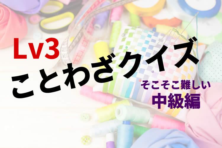 ことわざクイズ【穴埋め中級編】そこそこ難しいLv3!