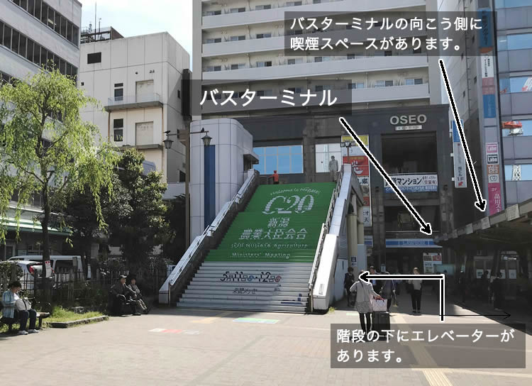 新潟駅万代口の西側連絡通路入り口の階段です。階段の下に自転車搭載OKのエレベーター入り口があります。